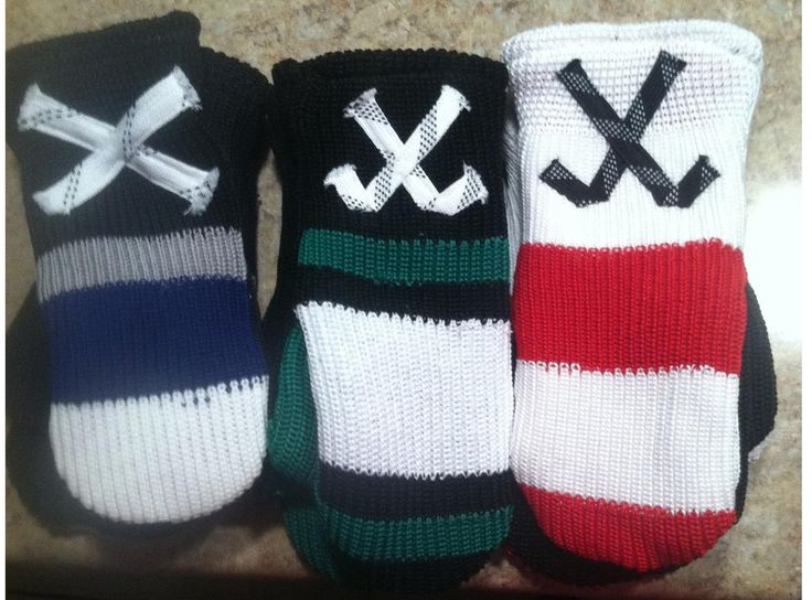 Hockey Mittens made from hockey socks & laces!  They do numbers too!