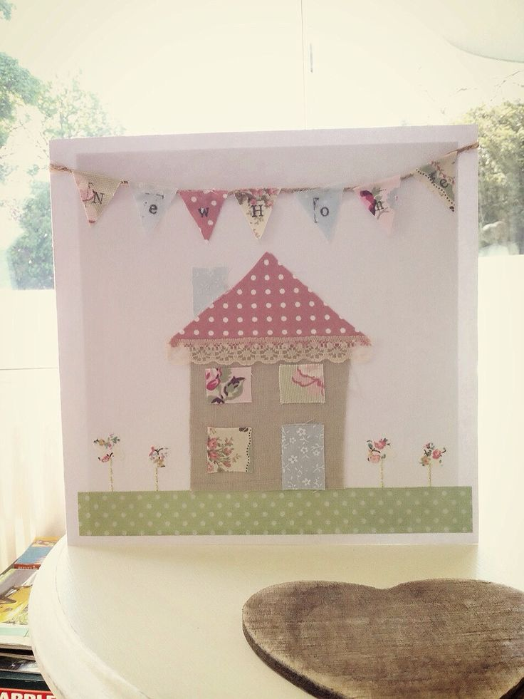 Handmade new home card shabby chic