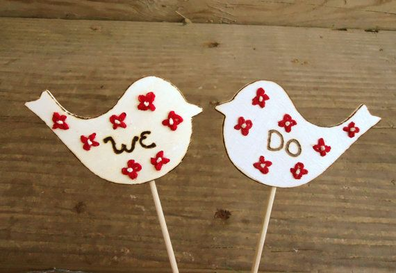 Rustic Wedding Bird Cake Toppers : Rustic, Country, Shabby Chic Wedding, Bridal Shower