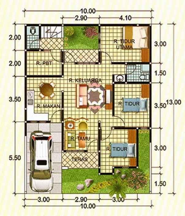 Contoh Denah Rumah Minimalis Type 90