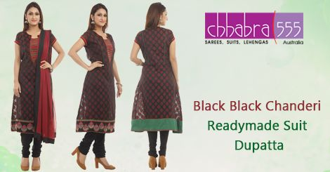 Visit ‪‎Chhabra555‬ online store and select Black Black Chanderi Readymade ‪Suit Dupatta‬ @ $143.95 AUD in ‪‎Australia‬. For Bulk orders at special prices write to us at customercare@chhabra555com.au or call us at 1800 289 555