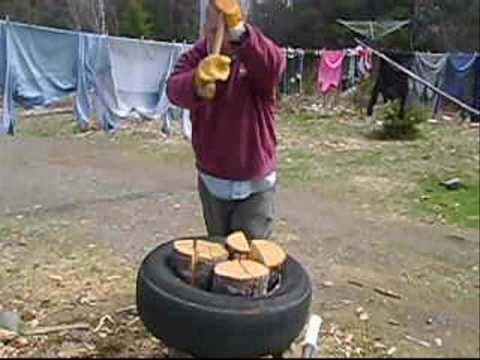 great769 shows you how to split wood quicker and easier then ever before . This method works with most types of wood, Ive split maple , Birch, spruce and fir. If you doing only 5or6 cords a year this is a good little log splitting chopping block, now it wont replace a log splitter and its not intended to. Make sure its covered  so the rain doe...