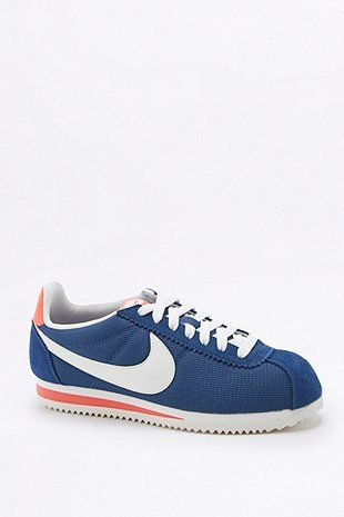 Nike Classic Cortez Blue and White Trainers - Urban Outfitters