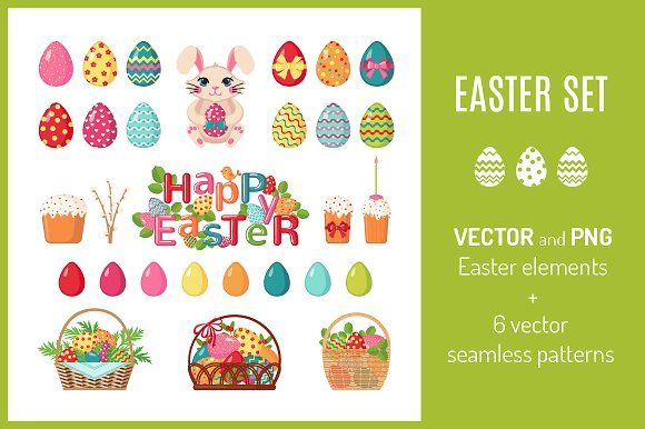 Set of Easter icons and patterns by romawka on @creativemarket