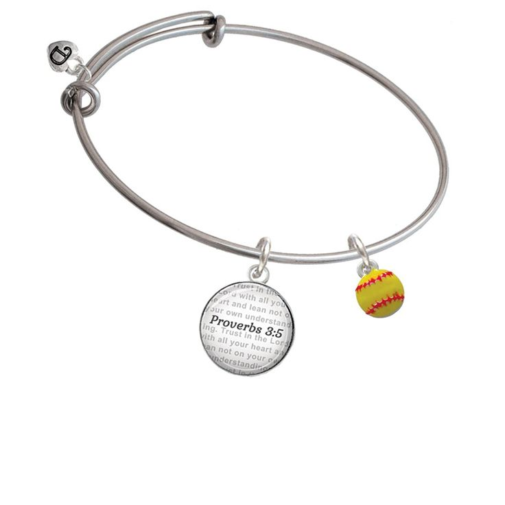 Mini Softball optic yellow - Bible Verse Proverbs 3:5 Glass Dome Bangle Bracelet >>> See this great product. (This is an affiliate link and I receive a commission for the sales)
