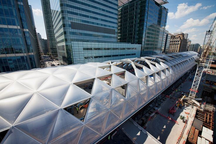 norman foster partners canary wharf crossrail, london | the canopy structure will sit above an enclosed roof garden | image courtesy of crossrail