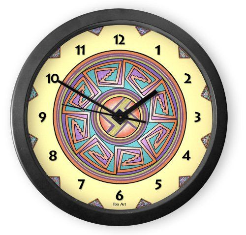From our Southwestern Clocks category, Sun in Mimbres Round Acrylic Wall Clock is inspired by traditional Native American pottery designs.Each clock is handcrafted in our Santa Fe, New Mexico studio. This clock has a second hand and makes a ticking sound. $34.50