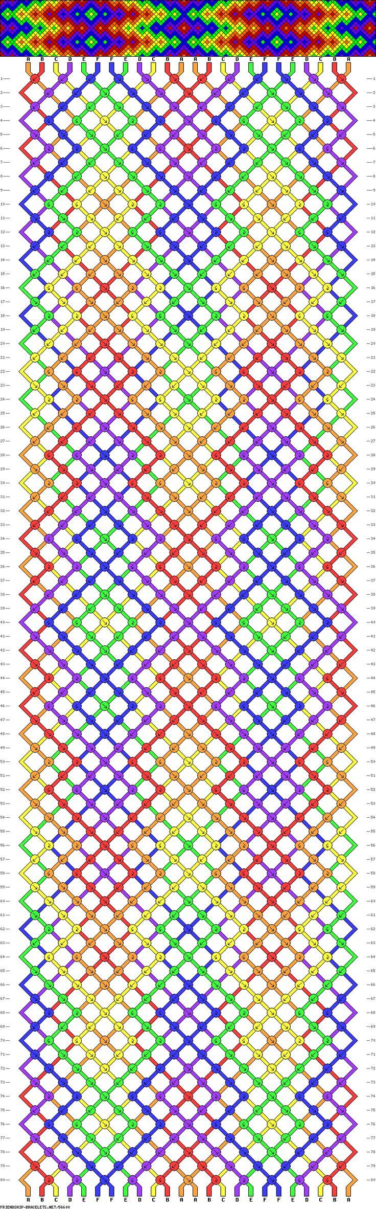 Friendship bracelet pattern - diamonds, chevron, burst, rainbow - 24 strings - 6 colors