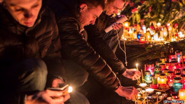 Kiev. Candles for the protestors killed.