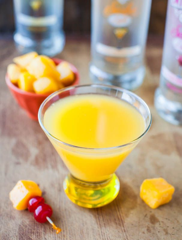 Mango Coconut Water Tropical Martini - Only 100 calories for this delish tropical drink! (and coconut water is a natural handover-preventer)