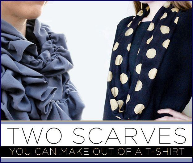 2 Ways To DIY Cute, Cheap Scarves - circle scarf is no-sew and the ruffled scarf required only super basic sewing skills!