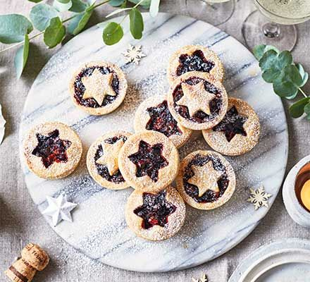 Bake vegan mince pies for a Christmas party, with a cherry and hazelnut filling that everyone will love. We have a great tip for making flaky pastry as well