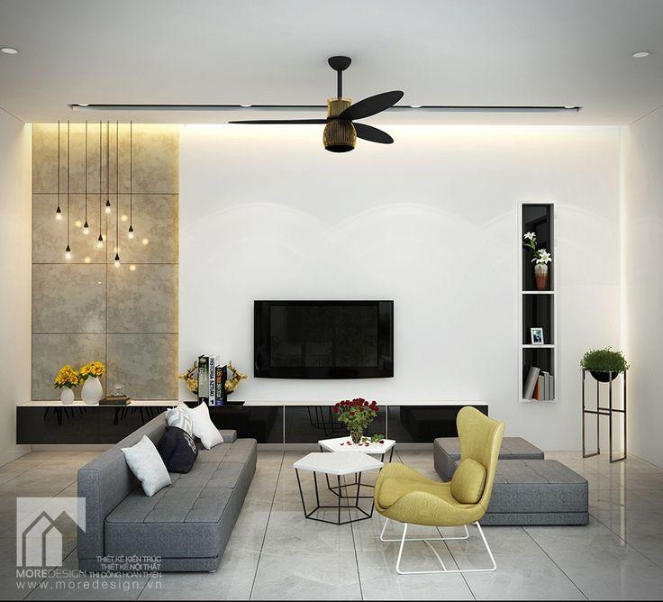 Mẫu Thiết kế nội thất phòng khách đẹp theo phong cách hiện đại