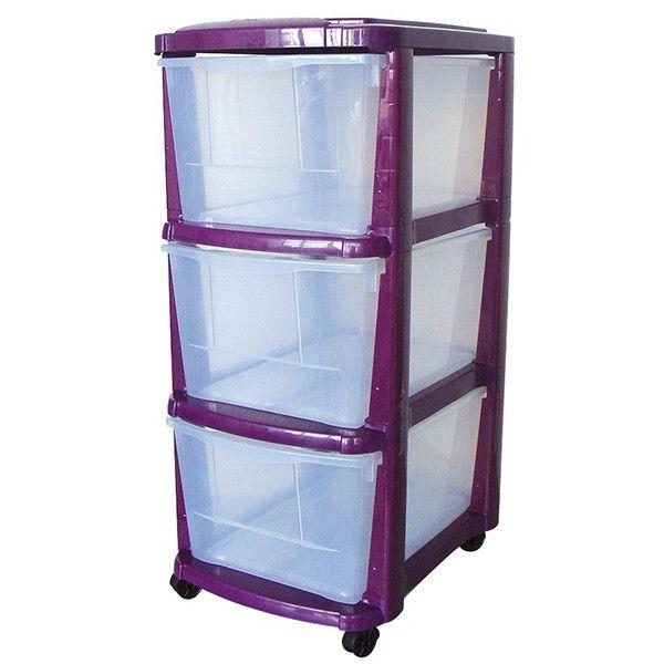 Tour de rangement plastique 3 tiroirs avec roulettes couleur prune