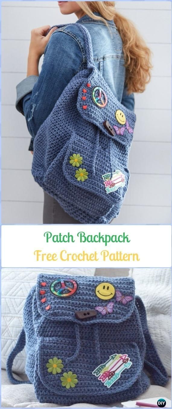 Crochet Patch Backpack Free Pattern -Crochet Backpack Free Patterns Adult Version