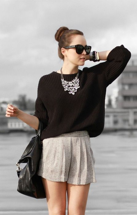 Pair dress shorts with a business sweater and a cute statement necklace for a summer business outfit
