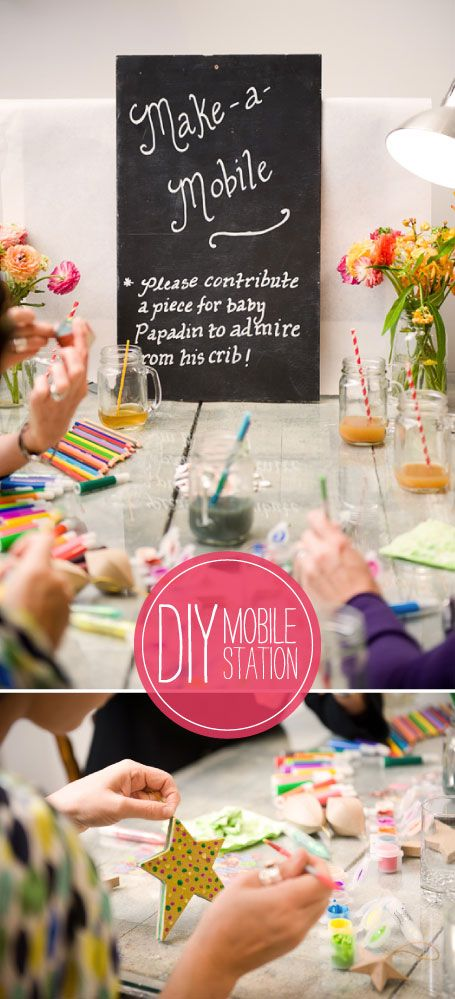 Great baby shower idea! Idea for a party activity (this one is paint a baby mobile decoration) but could be adapted to suit other ages :-)