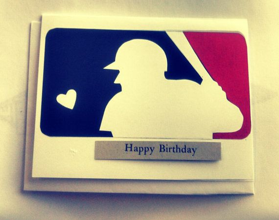 Baseball birthday card National Baseball league logo with blue and red players with bat on Etsy, $3.99