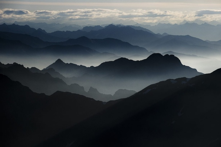 Mist penetrating the mountains of Trivero at sundown. The beauty of Piedmont can't be matched; Shot by Mattias Klum.  http://group.zegna.com/corporate_responsability