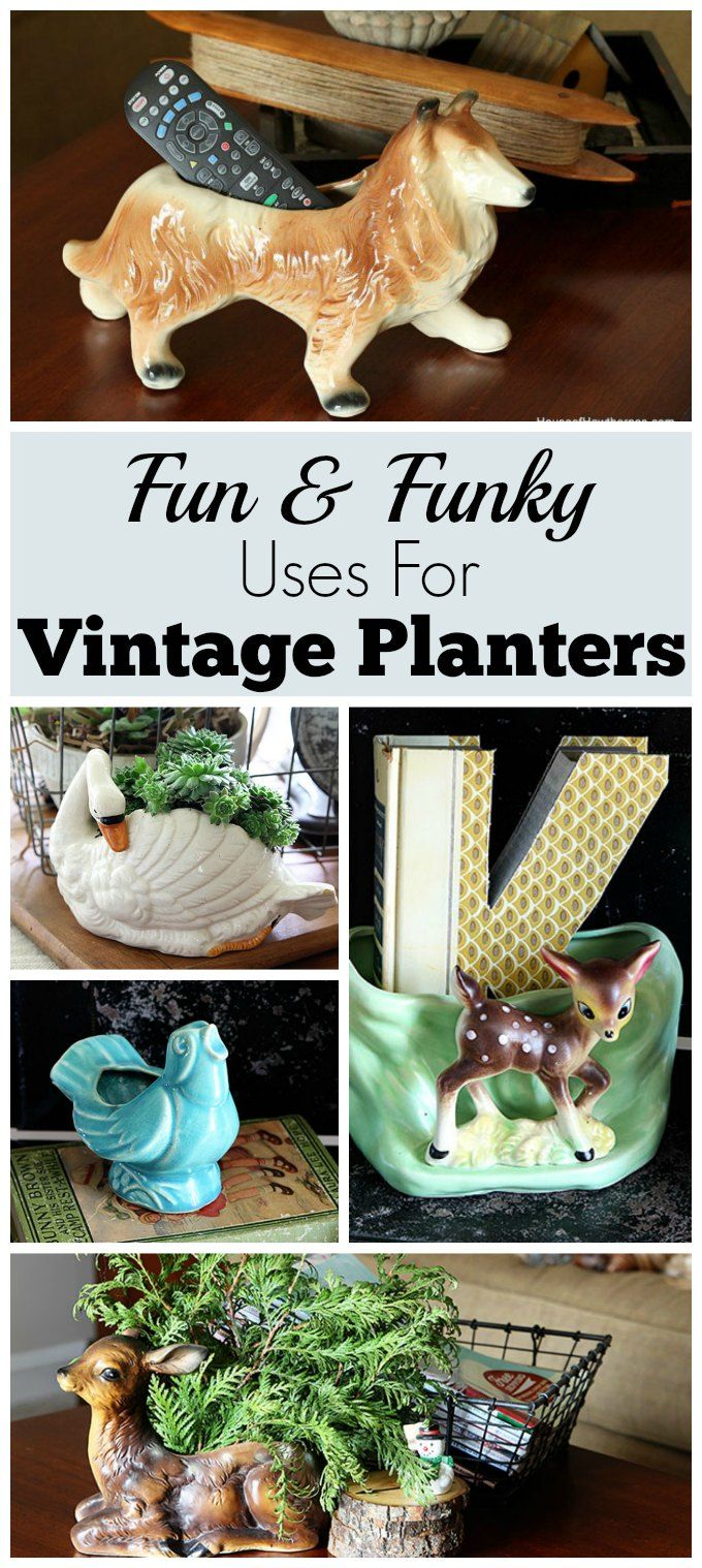 Vintage planters are a dime a dozen at thrift stores. Using them for storage is a great way to repurpose them and add some whimsy to your home decor.