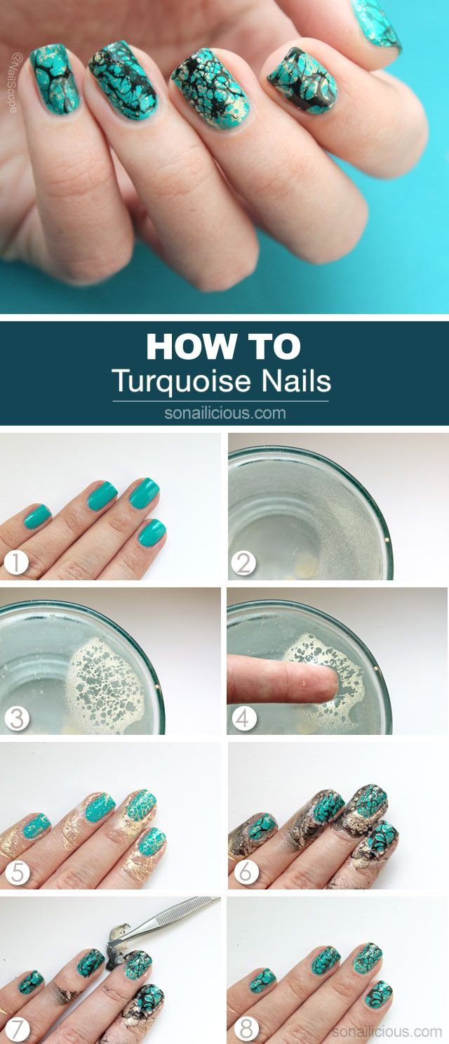 Turquoise Nails Tutorial #howto #nailart