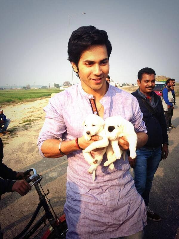 Varun Dhawan With Cute Dog