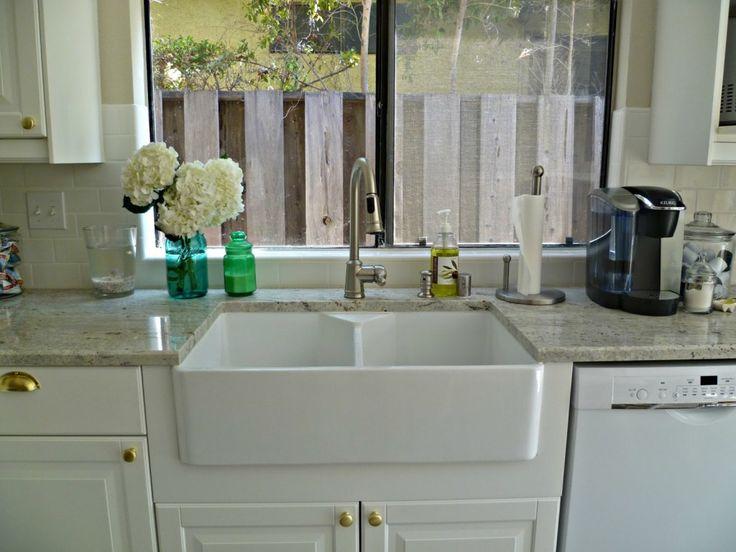 White Porcelain Kitchen Sink Kitchen Classy White Panels Double Porcelain  Farmhouse Sinks With Grey Granite Countertops