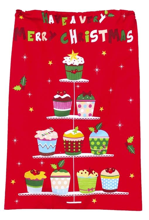 Fun happy and bright a prefect way to give your gifts or leave out for santa to fill. Home Décor at Christmas the most fun time...http://wamhomedecor.com.au/index.php/santa-sack-xmas-cupcakes-3499.html