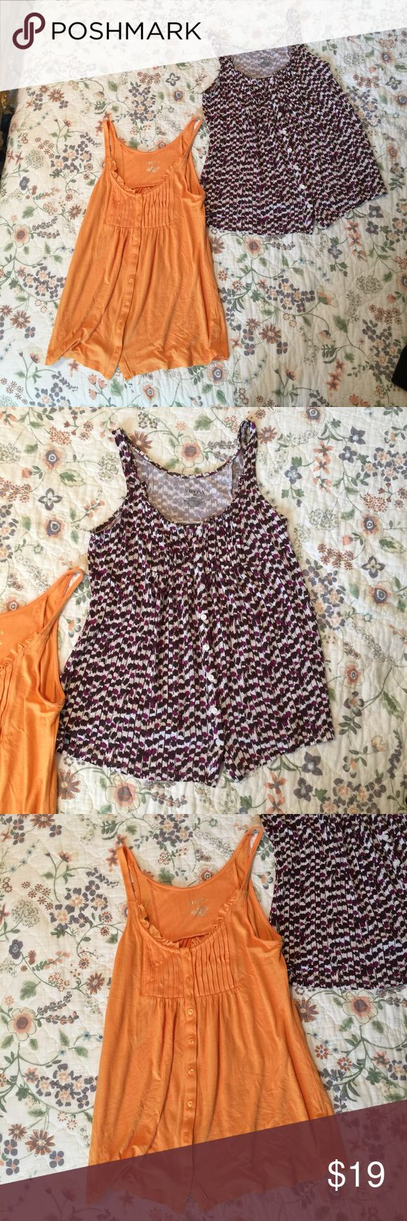 tank bundle ▪️Item condition: Good condition. Buttons down from. Very forgiving. Great for postpartum and nursing mamas too despite being regular sized. Size best for xs-m.  ▪️Item color: orange, purple white & brown  ▪️Item Blemishes: None, has Raw hem neckline.   ▪️How I cared for the the item:  percel pro clean wash, snuggle softener, hung to dry.  ❌Please note: My prices are reasonably low, and I will not pay for your shipping❌  T ags: tanks, target, nursing friendly, babydoll tanks…