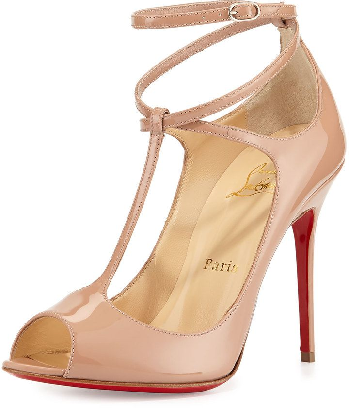 Christian Louboutin Talitha Patent T-Strap Red Sole Pump, Nude on shopstyle.com
