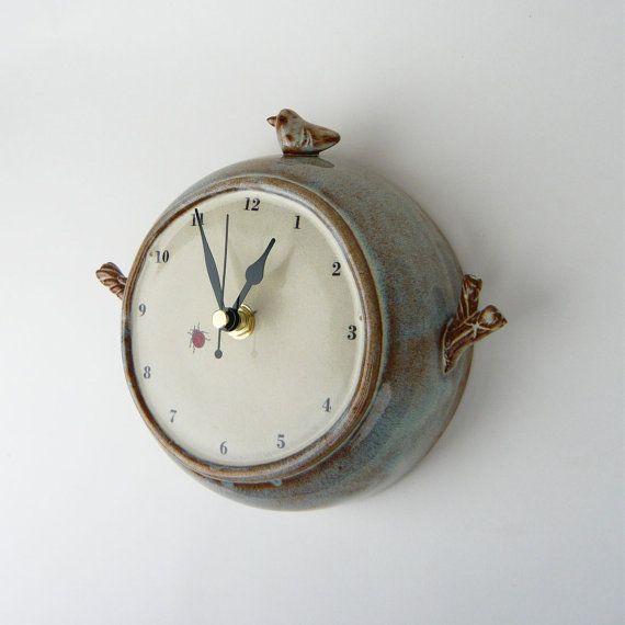 ceramic bird wall clock