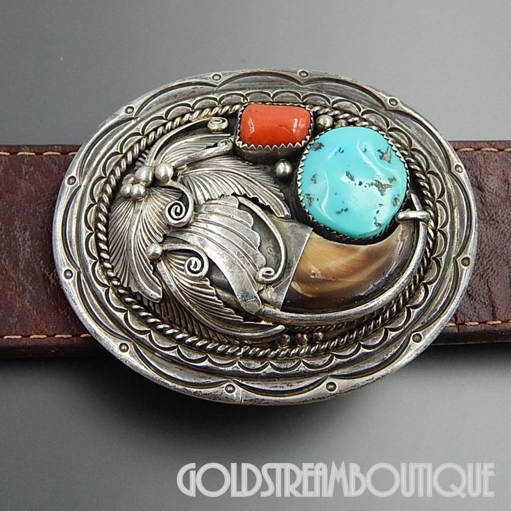 Native American Henry Morgan Navajo Sterling Silver Turquoise Coral Bear Claw Oval Belt Buckle