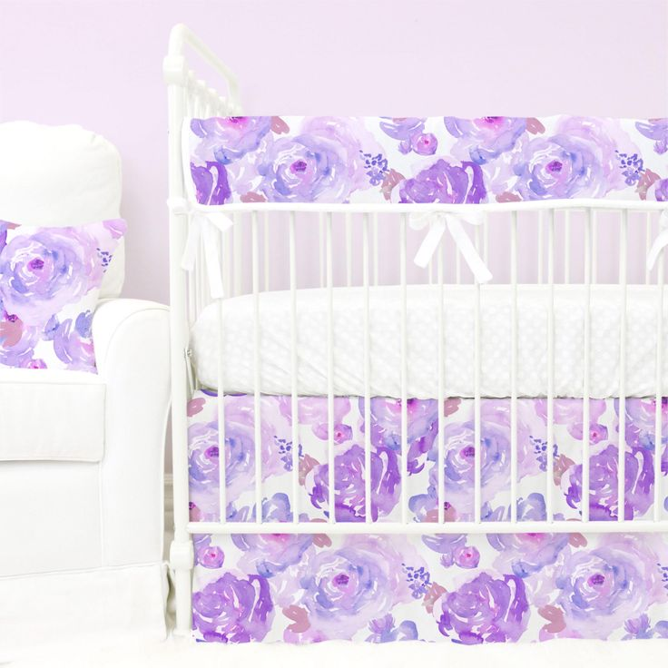 watercolor purple floral with lilac and blush bumperless crib bedding collection