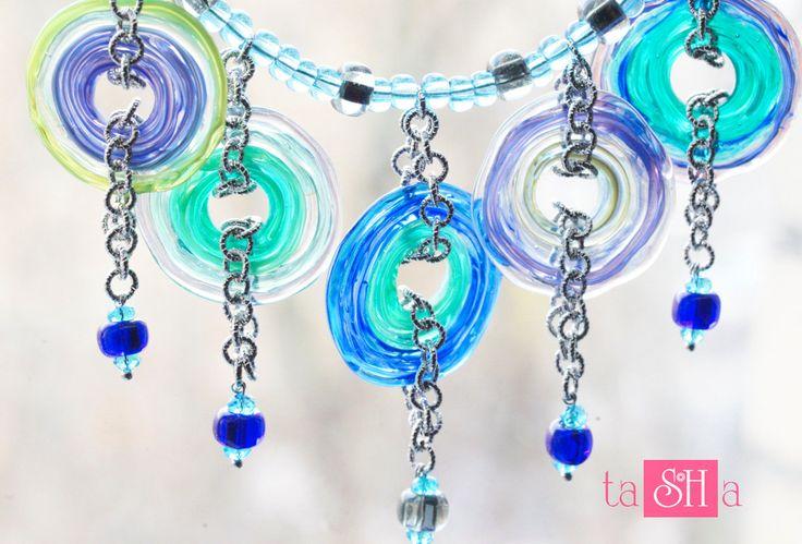 Blue glass necklace Blue Sea Glass Aqua Blue Necklace bib blue glass necklace Summer Jewelry Summer Necklace lampwork transparent necklace by tashabiju on Etsy