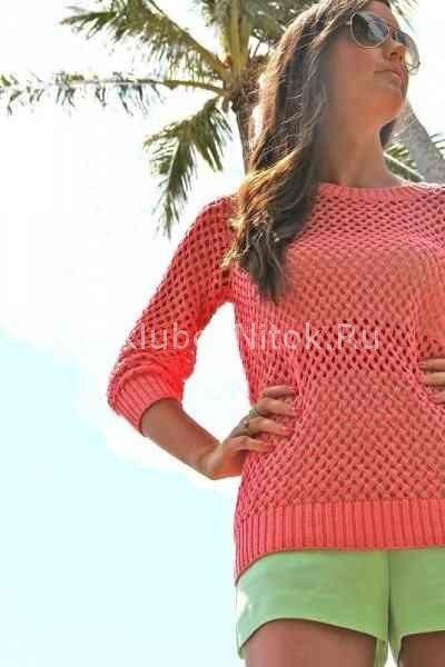 Пуловер с плетенным узором | Вязание для женщин | Вязание спицами и крючком. Схемы вязания.