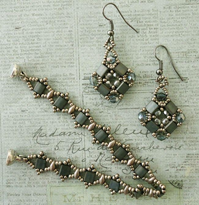Linda's Crafty Inspirations: Layered Tila Earrings - Steel Blue