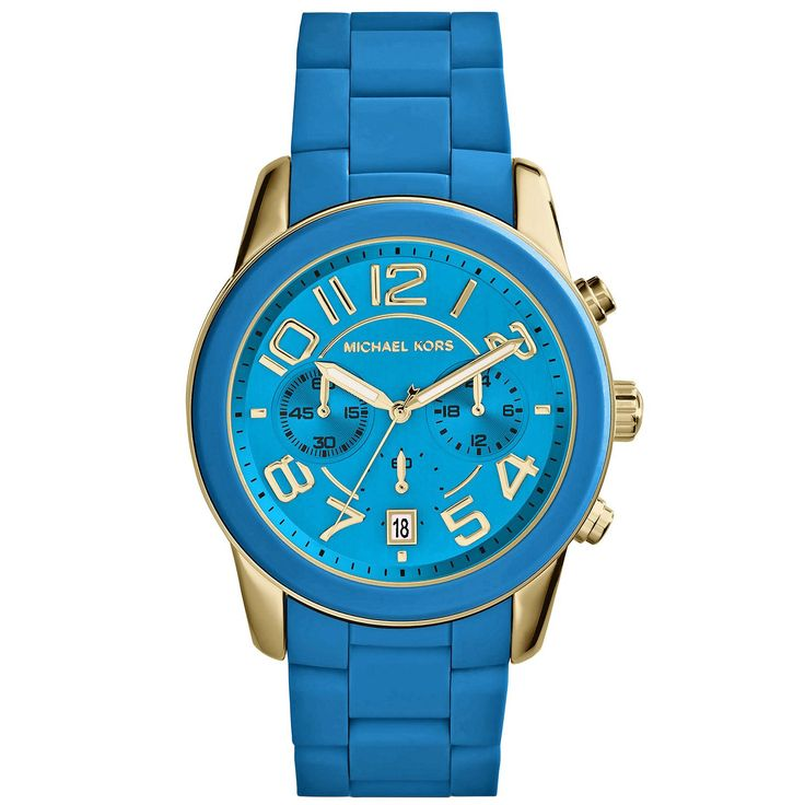 Gold-tone stainless steel case with a turquoise silicone covered stainless steel bracelet. Fixed turquoise silicone covered bezel. Turquoise dial with luminous hands and Arabic numeral hour markers.