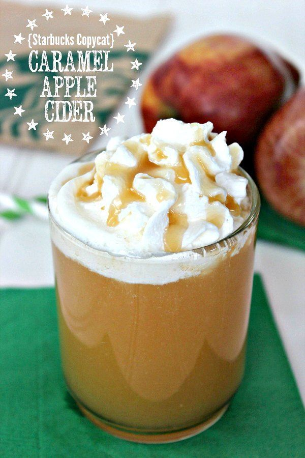 Caramel Apple Cider:Cinnamon spiced cider topped with a decadent caramel drizzle and whipped cream.