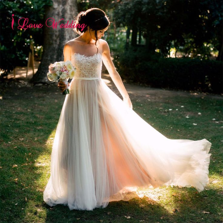 2017 Ivory Tulle Beach A-Line Wedding Dresses Formal Bridal Gowns Custom 2-16