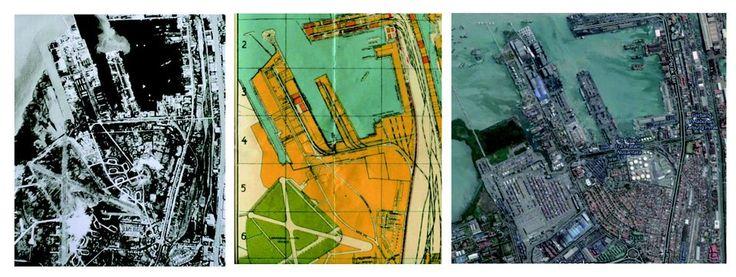 """Lapangan Udara Perak di tahun 1945 (foto kiri) dan di peta Surabaya yang dikeluarkan Pemerintah Kota Surabaya tahun 1955, terlihat lapangan terbang dengan landasan berbentuk """"X"""" di sisi kiri bawah. Citra dari Google Maps di tempat yang sama menunjukkan areal lapangan udara Perak telah berubah menjadi pemukiman dan terminal peti kemas"""