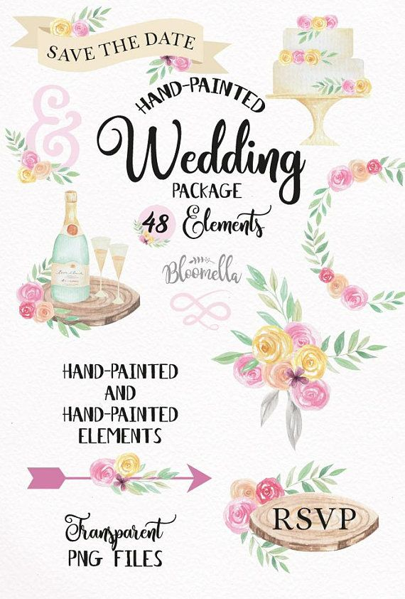 Watercolour Wedding Clipart 48 Hand Painted Drawn Scrolls