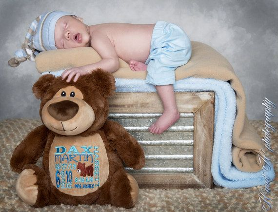 28 best personalized baby gifts embroidery images on pinterest personalized baby gift birth announcement plush stuffed animal bear teddy bear negle Choice Image
