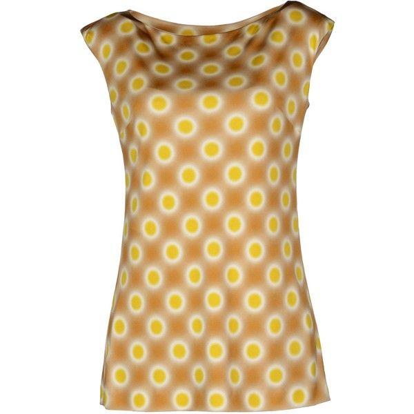 Prada Sleeveless T-Shirt featuring polyvore women's fashion clothing tops t-shirts camel jersey t shirt sleeveless t shirt sleeveless tops silk jersey silk t shirt