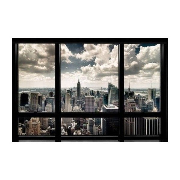 1art1 Poster con cornice in legno, New York Finestra con vista sulla... ($22) ❤ liked on Polyvore featuring home, home decor, wall art, backgrounds, frame and things