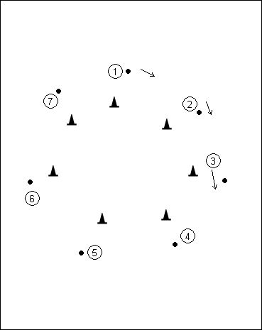 SPEED RACER-Dribbling for younger players  Create a large circle with cones.  Players find and stand next to Cone  On coaches whistle, the player race around the track and try to be the first one back to thier cone.  Progression- tell players they can go in any direction. This will force them to keep thier heads up