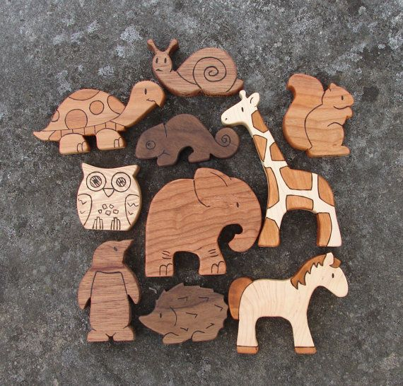 Wooden Toy Animals Wood Toys all by SnapdragonToyCo via Etsy.