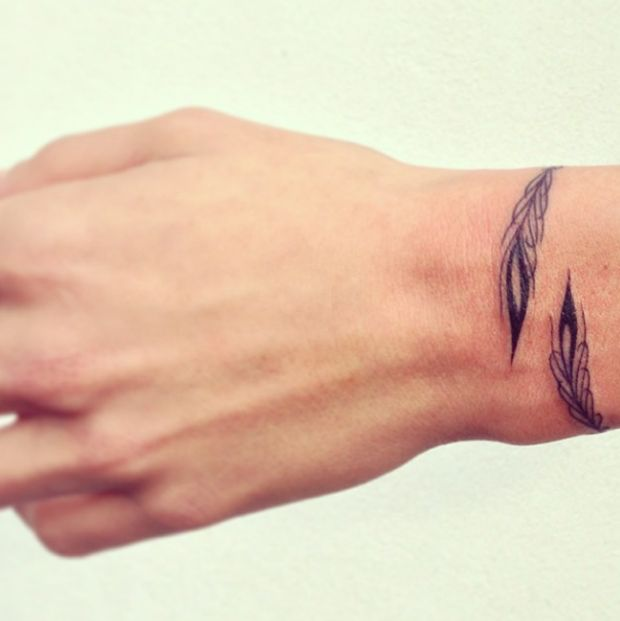 Feather Bracelet Tattoo On Wrist For Men