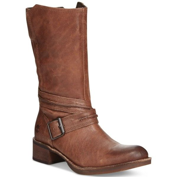 Timberland Women's Whittemore Mid-Shaft Boots ($180) ❤ liked on Polyvore featuring shoes, boots, brown leather, brown boots, mid calf leather boots, mid-calf boots, genuine leather boots and timberland boots