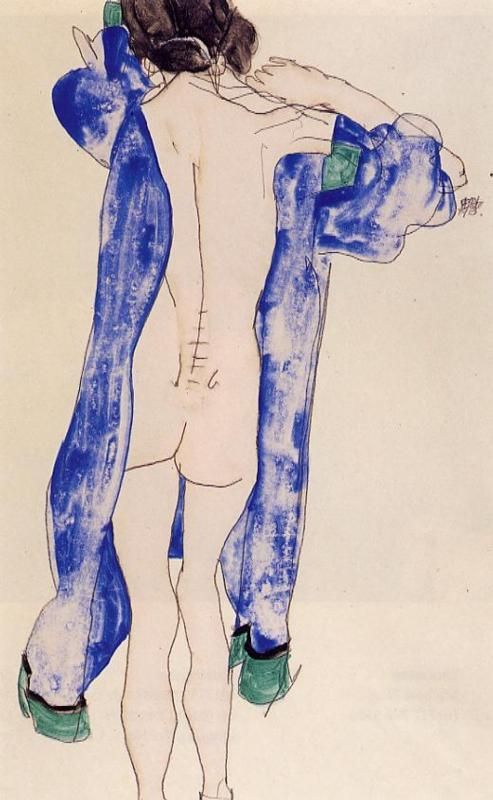 Standing Female Nude in a Blue Robe - Egon Schiele 1913