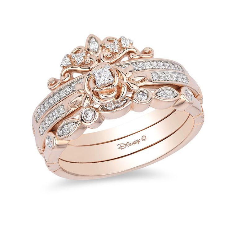 Enchanted Disney Belle 1 5 Ct T W Diamond Rose Stackable